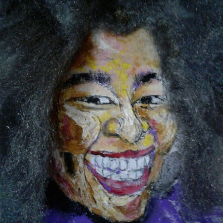 Acrylic mixed media self portrait