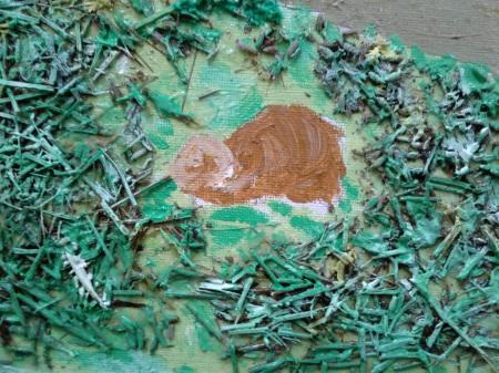 Otter in progress on landscape