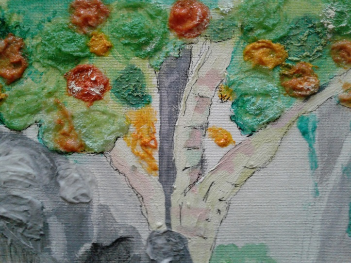 Colorful tree in progress on landscape