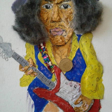 Caricature acrylic painting of Jimi Hendrix