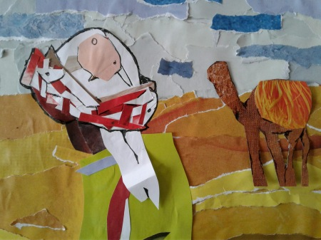 Close up of Shepard with camel in back